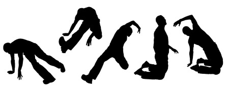 jumping people: Vector silhouette dancing and entertainers with people.