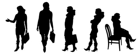 vector Silhouettes of people on a white background  Illustration