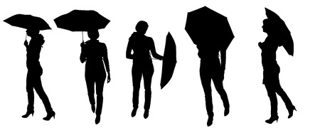 sexy umbrella: Vector silhouette of a woman with an umbrella on a white background.