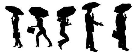 Vector silhouette of a woman and man with an umbrella on a white background. Vector