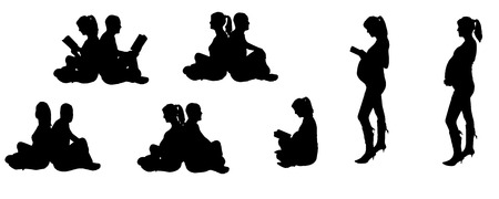 vector illustration with family silhouettes on a white background . Stock Vector - 25881936