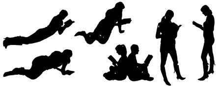 mujer arrodillada: vector silueta de la gente que lee sobre un fondo blanco