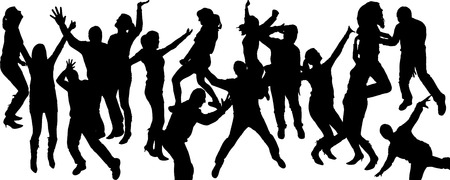 entertainers: Vector silhouette dancing and entertainers with people.