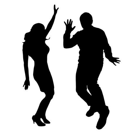 niños bailando: Vector silueta de baile y artistas con la gente.