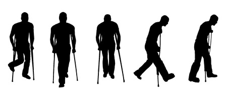 vector black silhouette man injury and crutches Vector