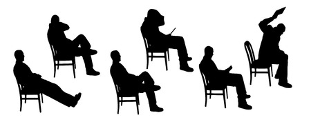 vector Silhouettes of businesspeople on a white background  Illustration
