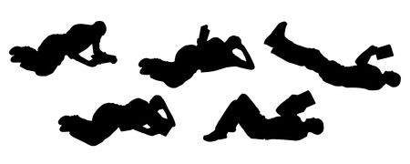 vector silhouette of a man on Various Positions and reading Vector