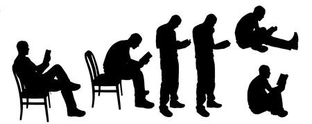 predicador: vector de la silueta de un hombre en una silla y leyendo Vectores