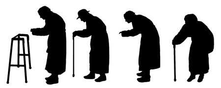 older couple: vector silhouette old people in different situations