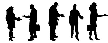 vector Silhouettes of businessman with a handshake Vector