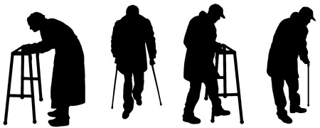 crutch: vector silhouette old people in different situations