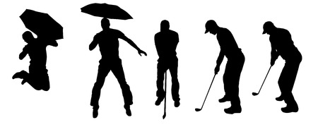 Vector silhouette of a man with an umbrella on a white background. Vector