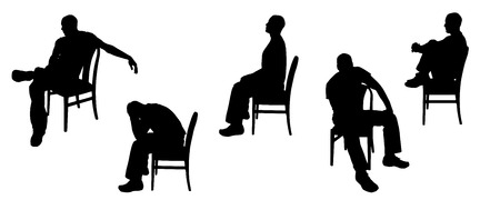 man profile: Vector silhouette of man sitting on chairs.