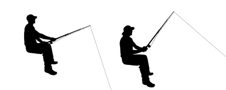 fisherman: Vector silhouette of a man who fishes.