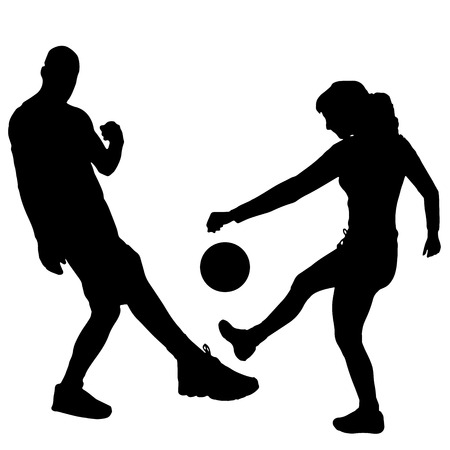 footballer: Vector silhouettes man and women playing football.