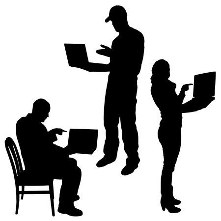 Vector silhouet van mensen met een computer op een witte achtergrond.