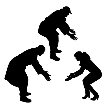 woman looking down: Vector silhouette of people who are bent on a white background.