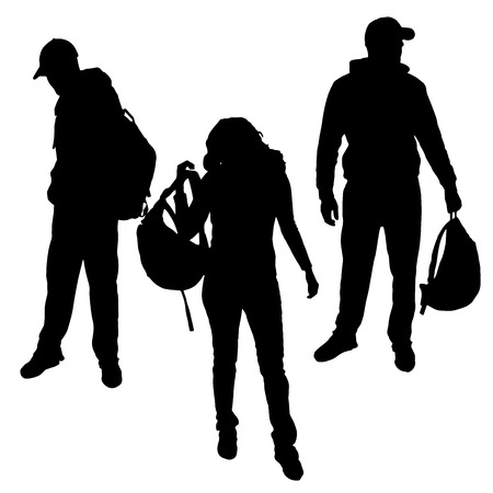 young boy: Vector silhouette of people who have a backpack.