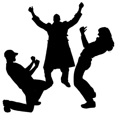 rejoice: Vector silhouette of people who rejoice on white background.