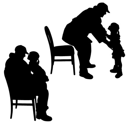 Vector silhouette of child playing with her grandfather. Ilustrace