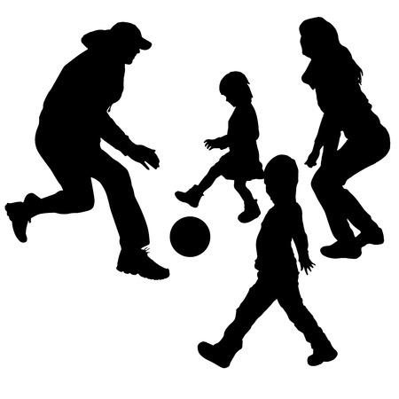 Vector silhouette of children playing with their parents. Vector