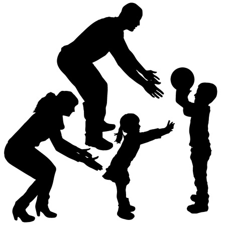 baby playing toy: Vector silhouette of children playing with their parents. Illustration