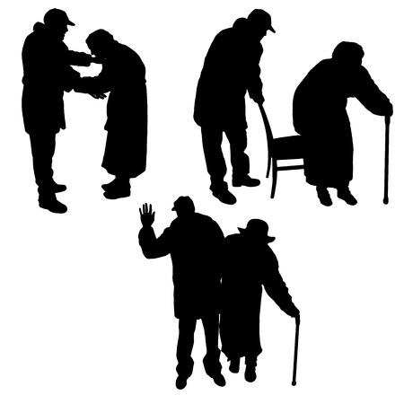 persona mayor: Vector silueta de las personas de edad en un fondo blanco.