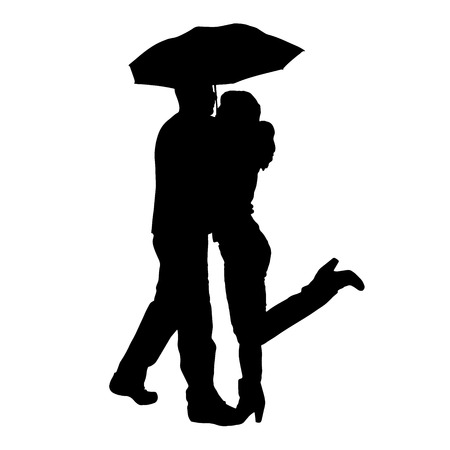 Vector silhouette of couple with umbrellas on white background.