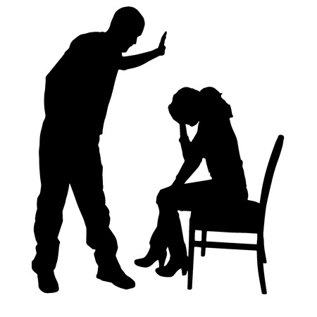 slap: Vector silhouette of a man who berates women.