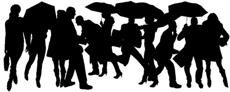 Vector silhouette of group of people with umbrellas. Vector
