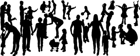 vector illustration with family silhouettes on a white background . Vector