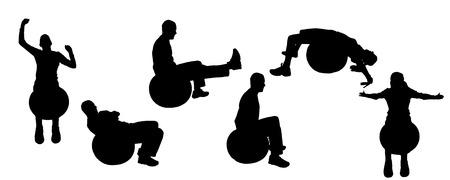 fortalecimiento: Vector siluetas de las actividades deportivas. Vectores