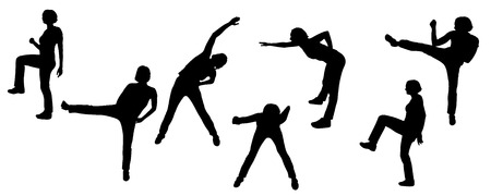 Vector silhouettes of sporting activities.