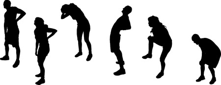 woman back pain: Vector silhouettes of sporting activities.