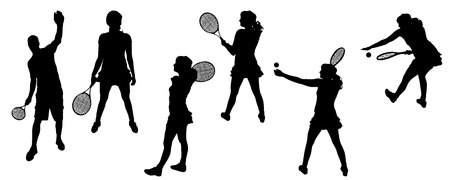 tenis: Vector silhouettes of sporting activities.