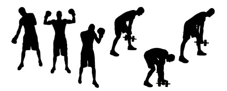 wrestle: Vector silhouettes of sporting activities.
