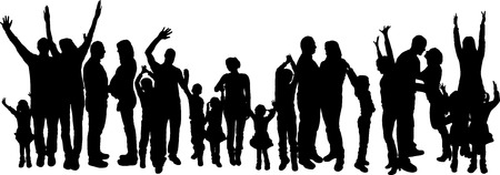 crowd of people: vector illustration with family silhouettes on a white background .