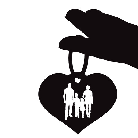 mather: Vector illustrations black silhouettes of hearts on a white background. Illustration