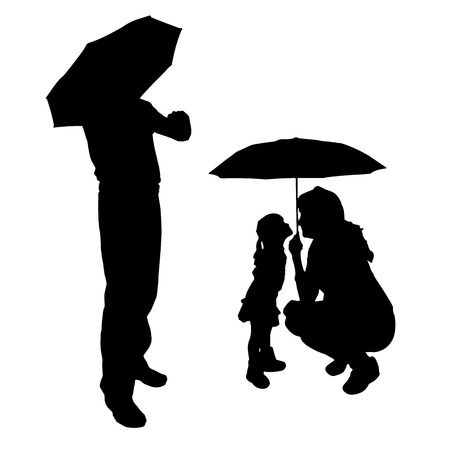 Vector silhouette of a family with umbrellas. Vector