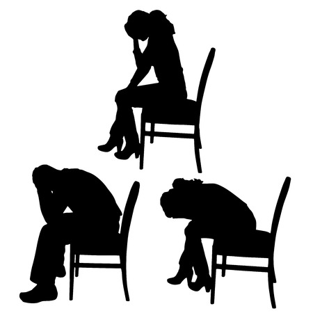 male headache: Vector silhouettes of men and women who sit on the chair.