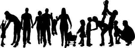 innamorati che si baciano: illustrazione vettoriale con sagome di famiglia su uno sfondo bianco. Vettoriali