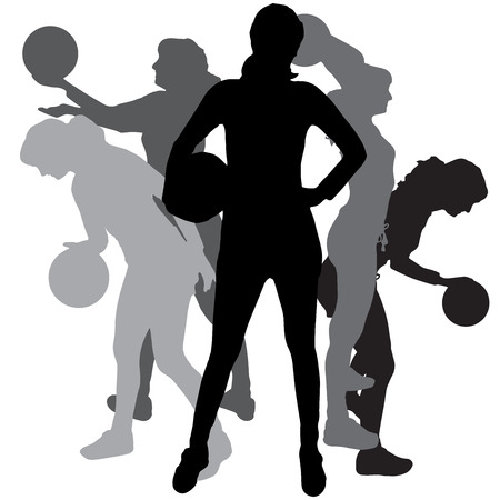 Vector silhouette of a woman playing volleyball on a white background.