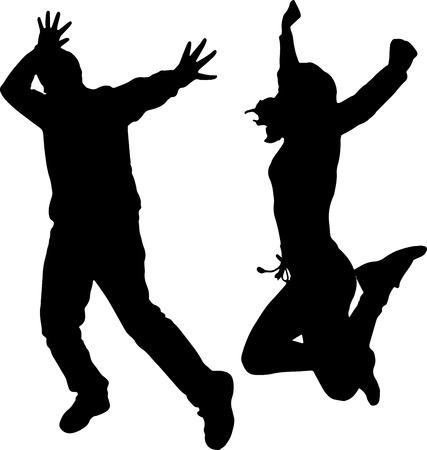 baile hip hop: Vector silueta de baile y artistas con la gente.