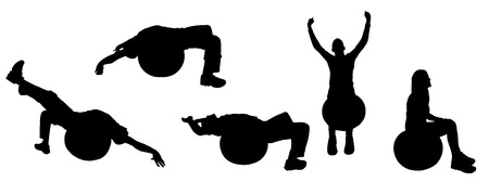"""pilates ball"": Vector silhouettes of sporting activities."