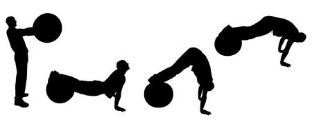 pilates ball: Vector silhouettes of sporting activities.