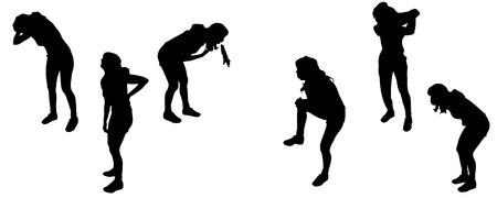 woman back of head: Vector sagome di attivit� sportive.