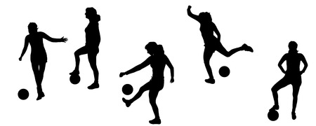 females: Vector silhouettes of sporting activities.