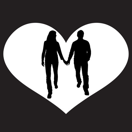 lovers holding hands: vector illustration with family silhouettes on a white background .