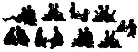 niños platicando: ilustración vectorial con siluetas de la familia sobre un fondo blanco. Vectores