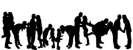 mather: vector illustration with family silhouettes on a white background .